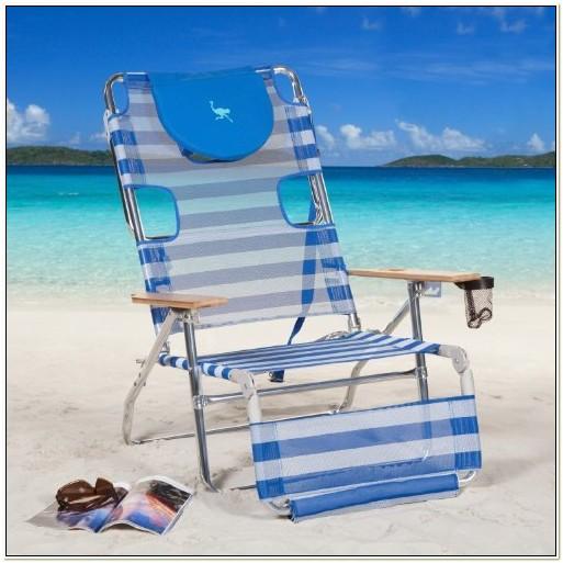 Ostrich 3n1 Beach Chair Blue White Stripe
