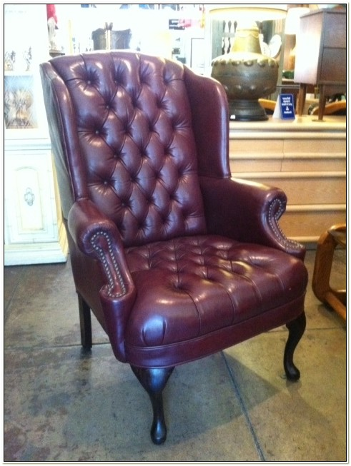 Oxblood Leather Wingback Chair