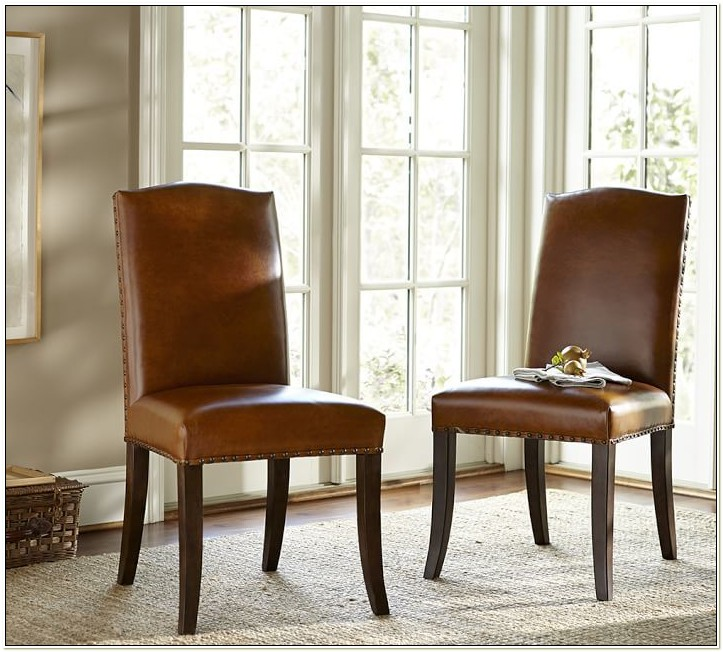 Pottery Barn Orange Leather Dining Chair