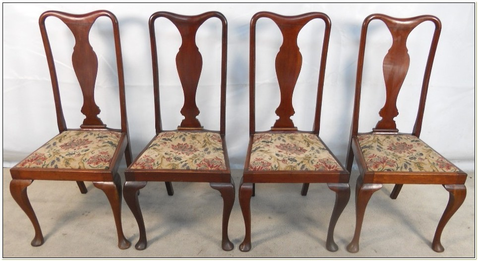 Queen Anne Style Mahogany Dining Chairs