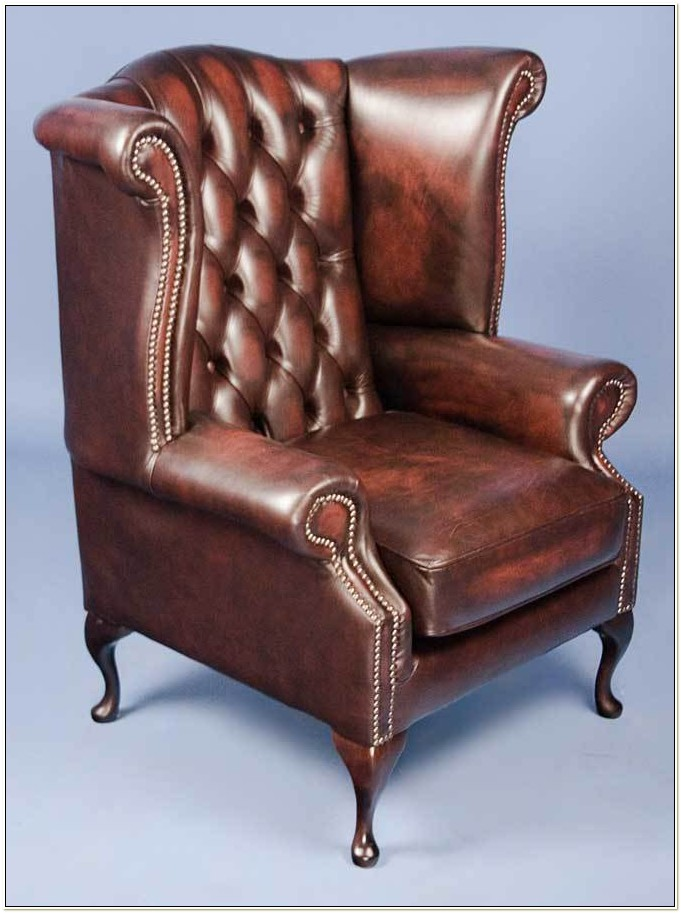 Queen Anne Wingback Chair Leather