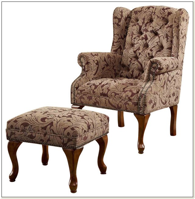 Queen Anne Wingback Chair With Ottoman