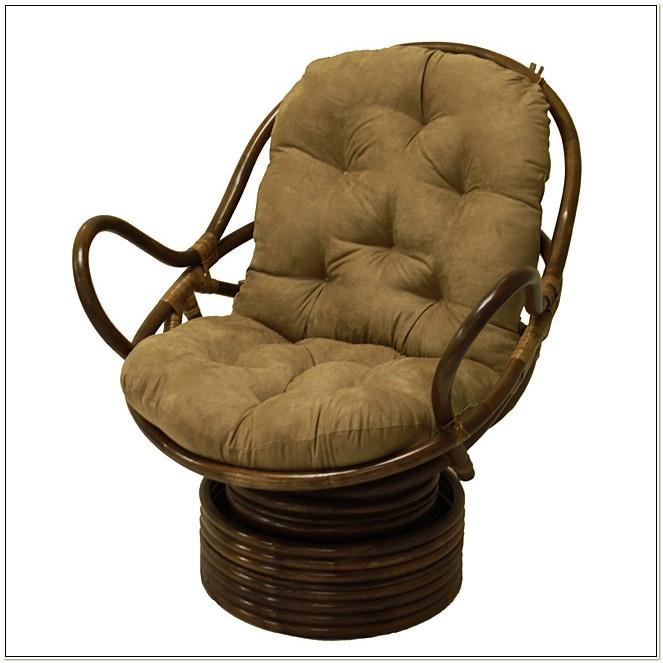 Rattan Coil Base Swivel Rocker Chair Cushions