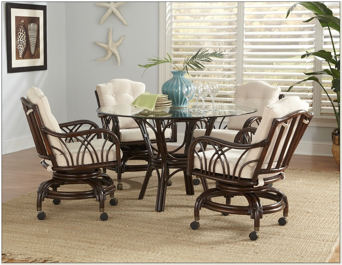 Rattan Dinette Sets With Caster Chairs