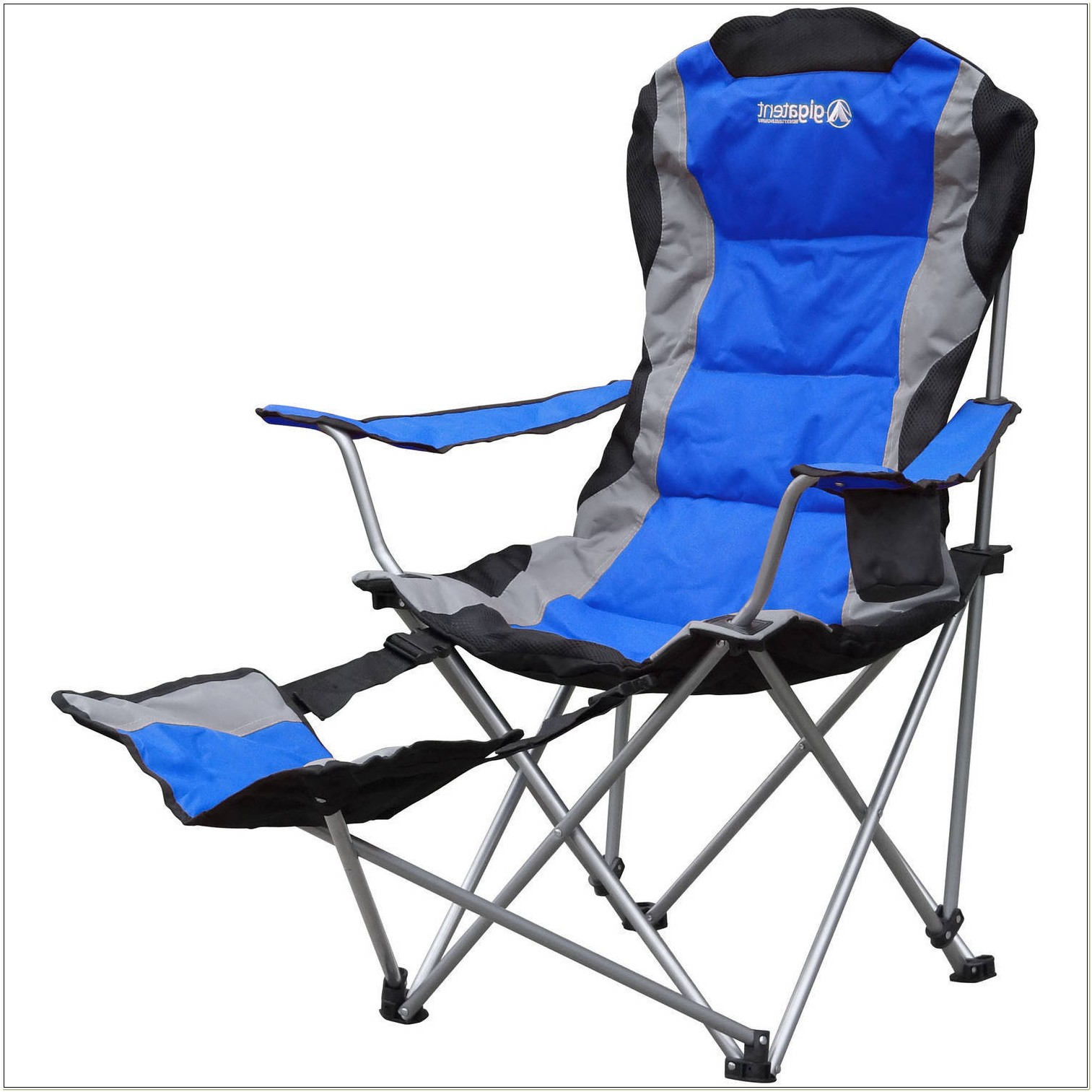 Reclining Camp Chair With Attached Footrest