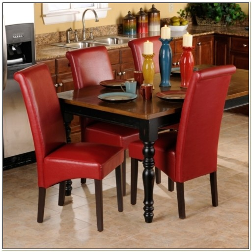Red Faux Leather Parsons Chairs