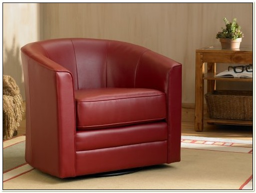 Red Leather Barrel Swivel Chair