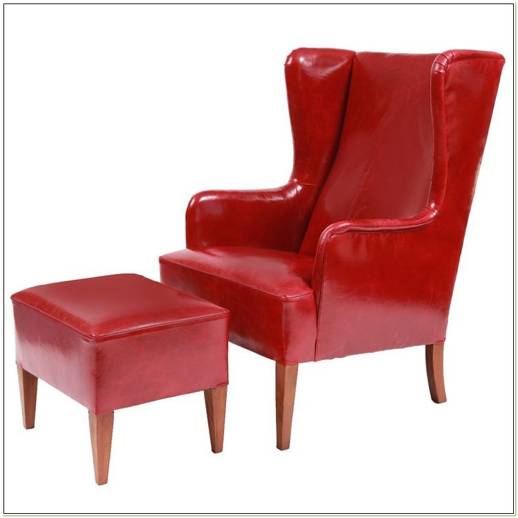 Red Wingback Chair With Ottoman