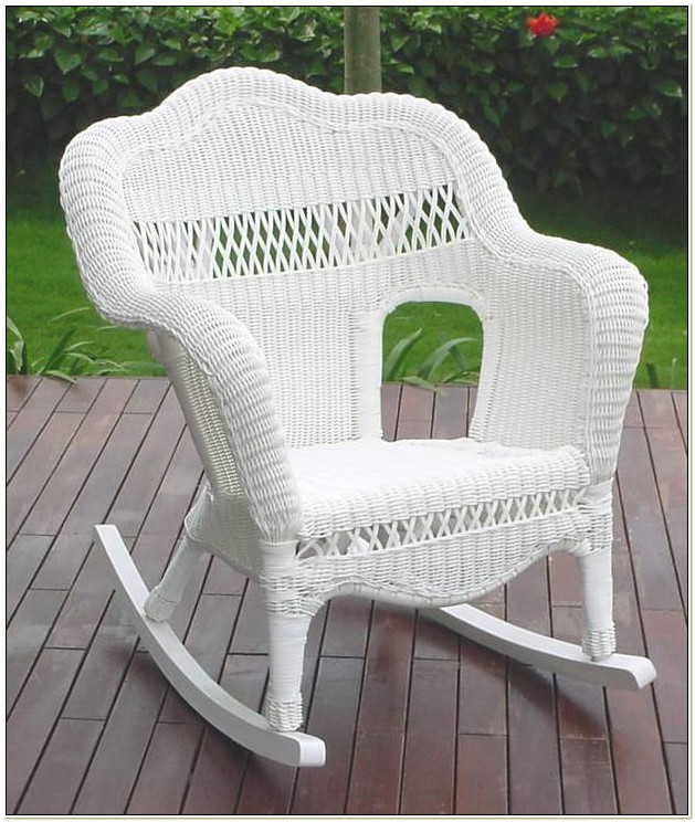 Resin Wicker Rocking Chair White