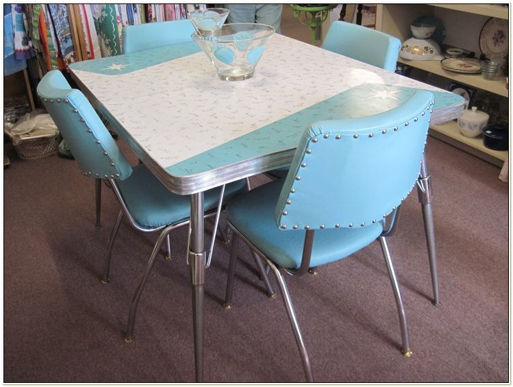 Retro Kitchen Table And Chairs Blue