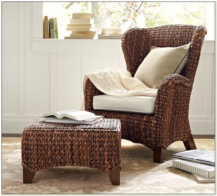 Seagrass Wingback Chair And Ottoman