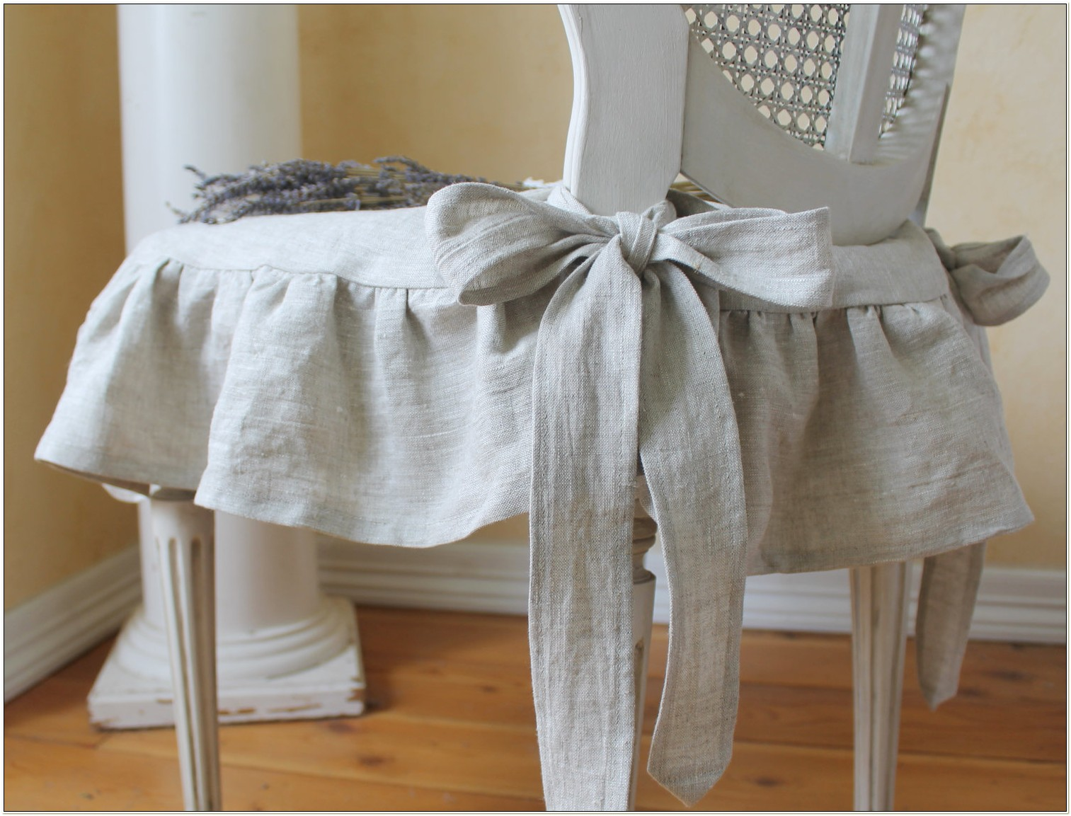 Shabby Chic White Chair Slipcover