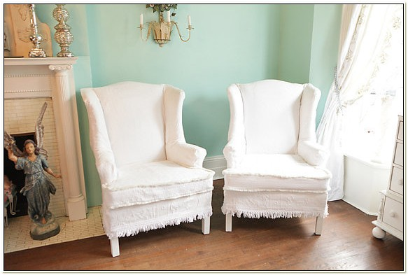 Shabby Chic Wingback Chair Slipcovers