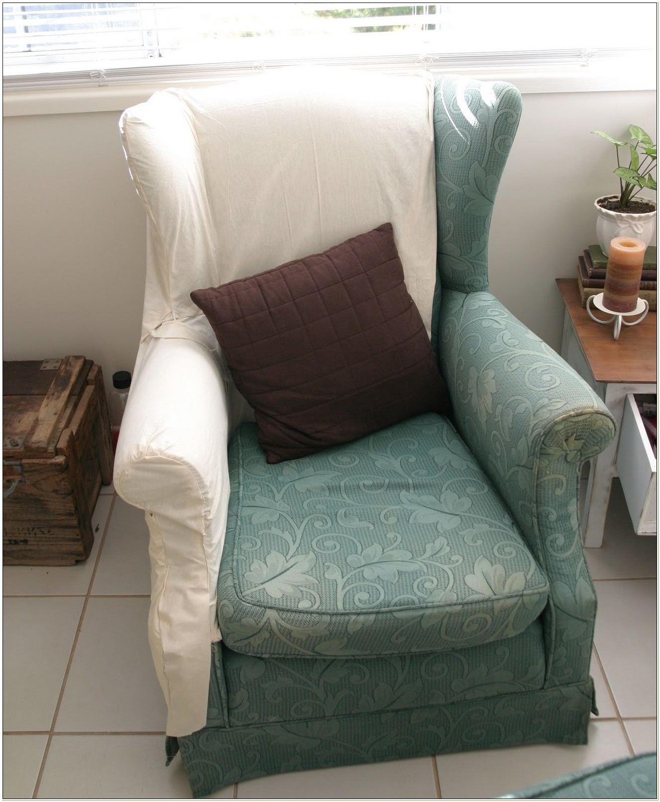 Slipcover For Wingback Chair With Square Cushion