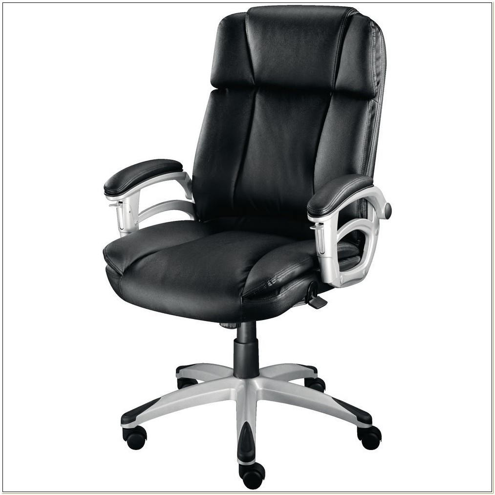 Staples White Leather Office Chair