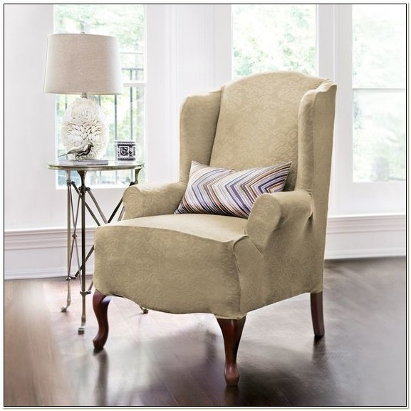 Stretch Dahlia Wing Chair Slipcover