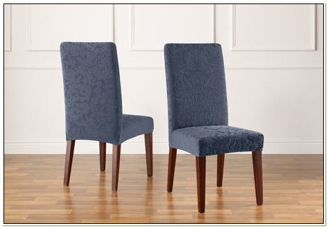 Stretch Jacquard Damask Short Dining Chair Covers