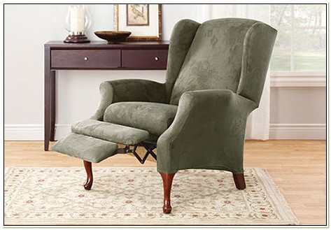 Stretch Suede Wing Chair Recliner Slipcover