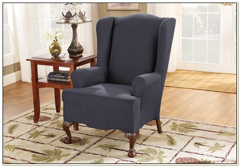 Stretch Suede Wing Chair Slipcover