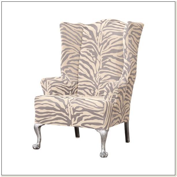 Stretch Zebra Wing Chair Slipcover