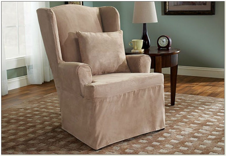 Sure Fit Suede Wing Chair Slipcover