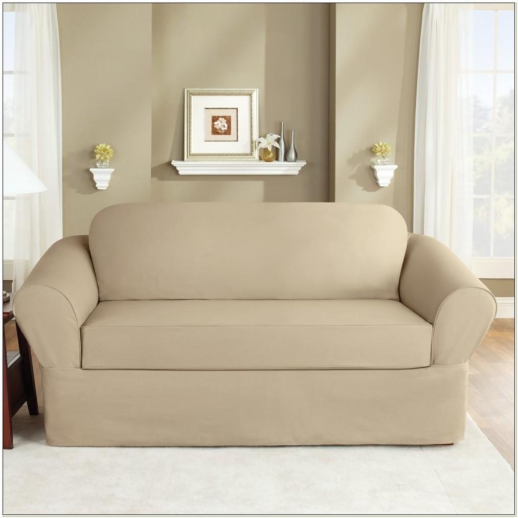 Sure Fit Twill Supreme Sofa Slipcover Flax