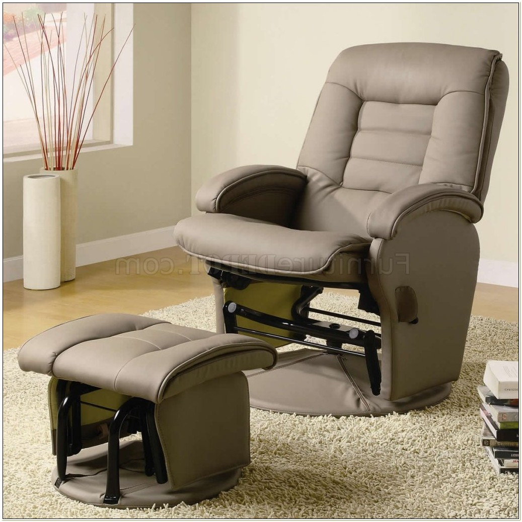 Swivel Glider Recliner Chair Ottoman
