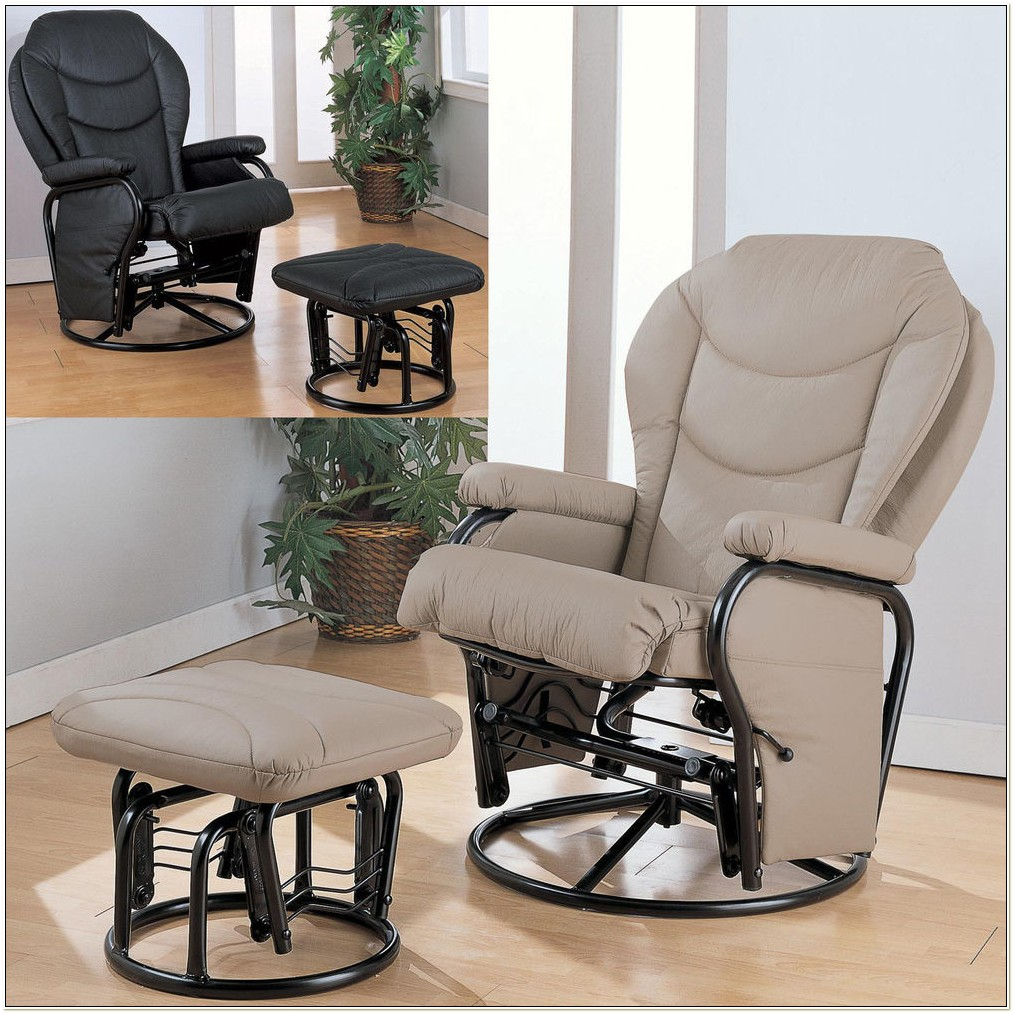 Swivel Glider Rocker Recliner Chair Ottoman