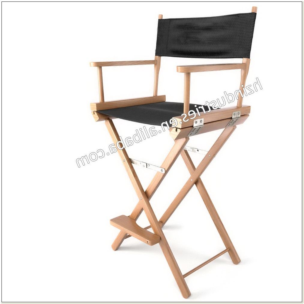 Tall Wooden Folding Directors Chair