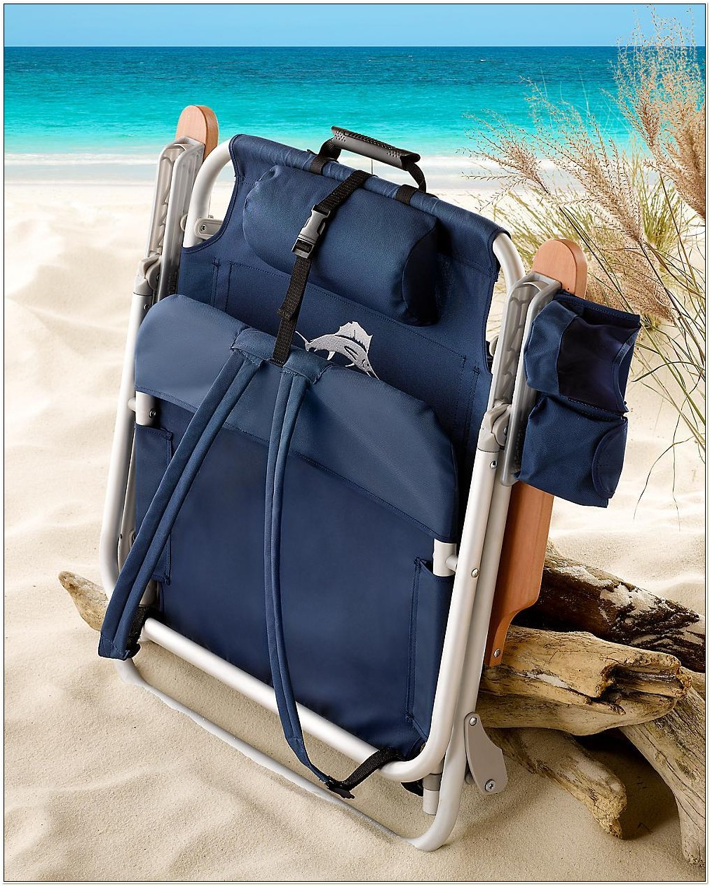 Tommy Bahama Navy Deluxe Backpack Beach Chair
