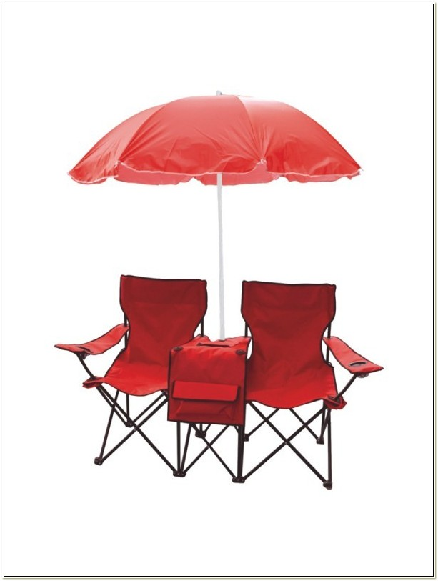 Twin Camping Chair With Cooler And Umbrella