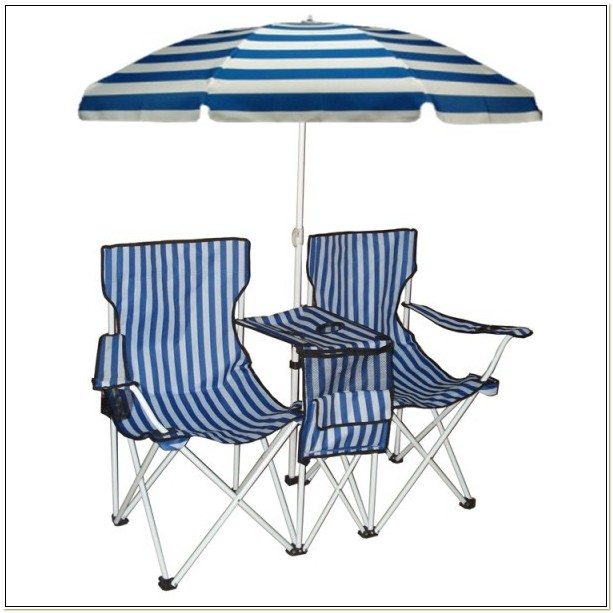 Twin Camping Chair With Umbrella
