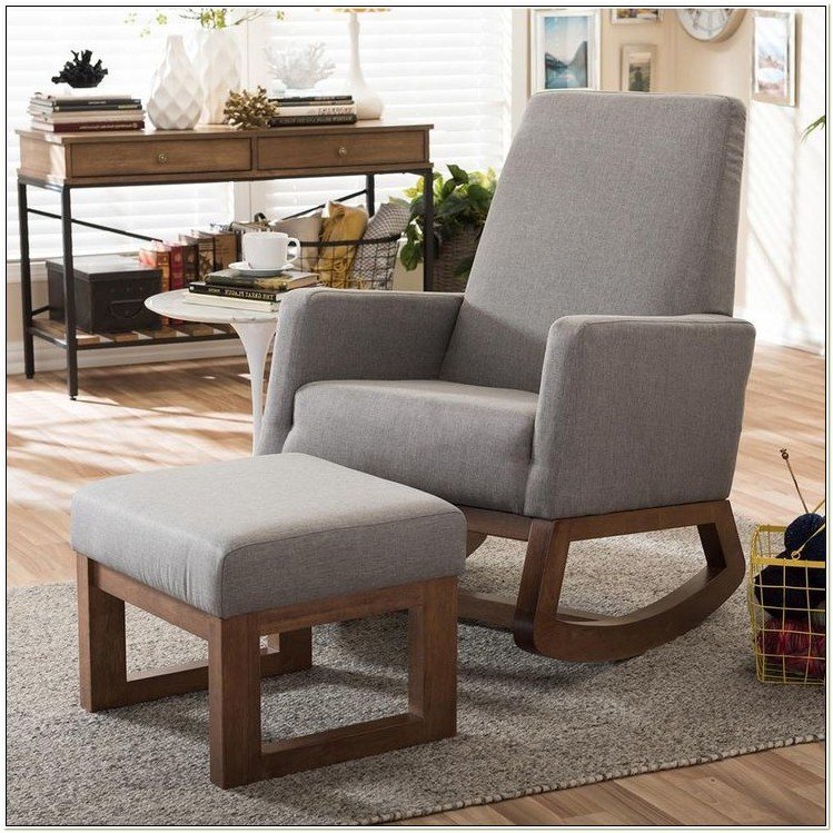 Upholstered Rocking Chair And Ottoman