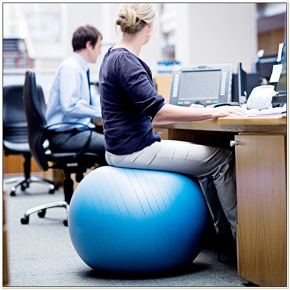 Using Workout Ball Office Chair