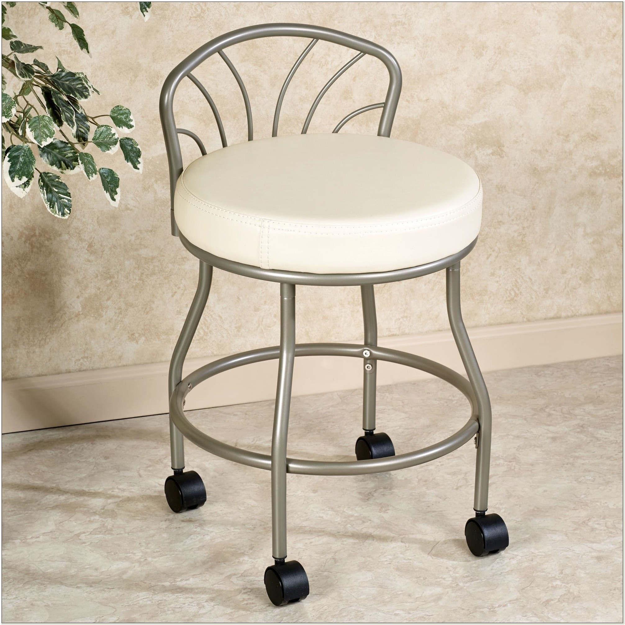 Vanity Chair With Back And Wheels
