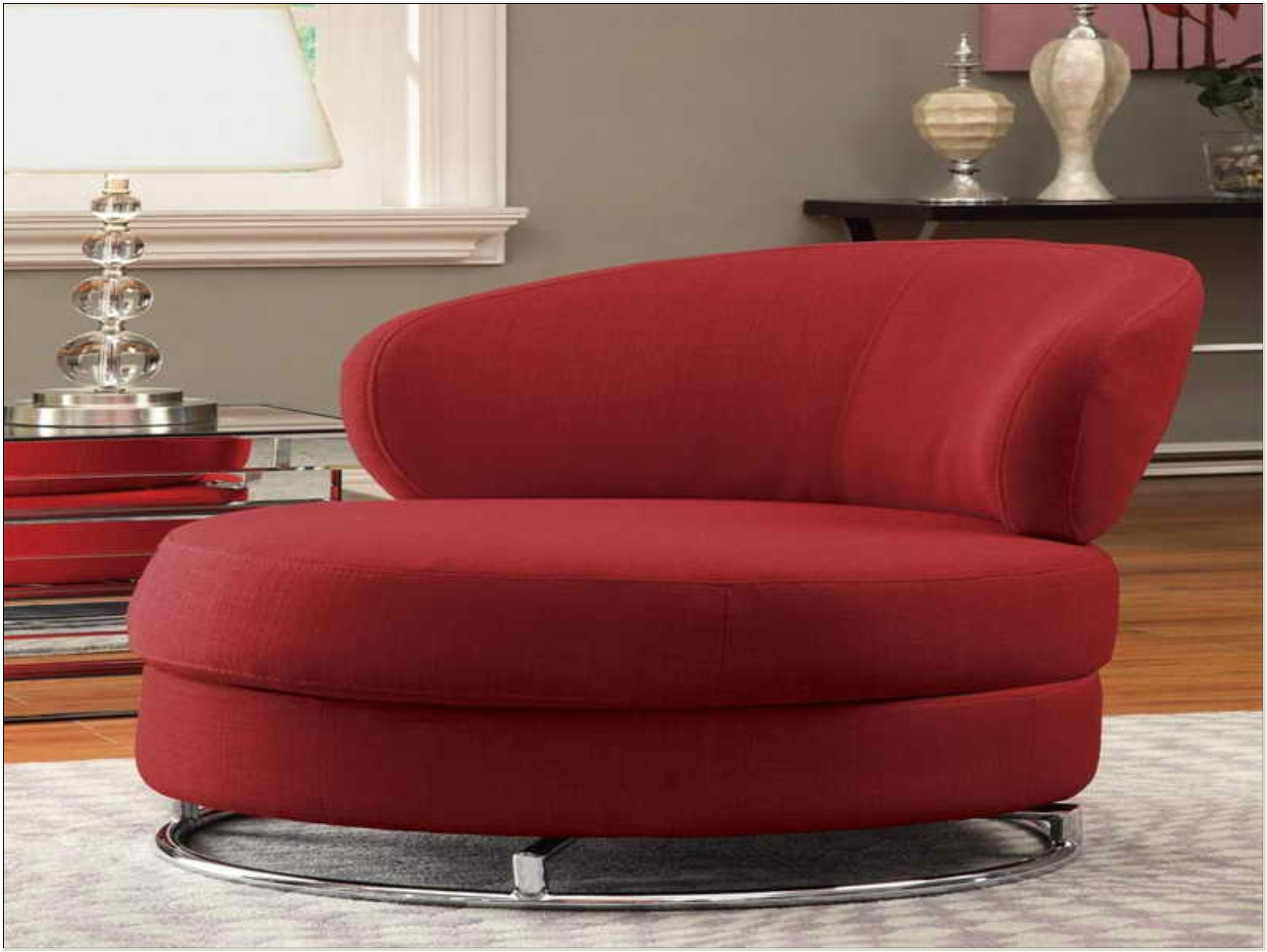 Victory Chocolate Oversized Round Swivel Chair
