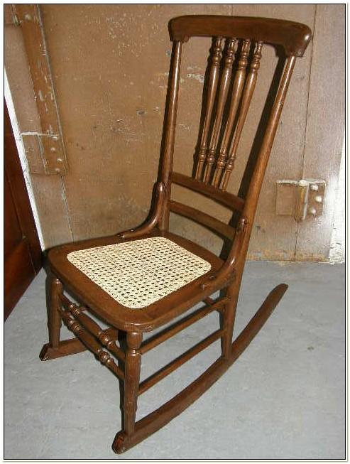 Vintage Cane Bottom Rocking Chair