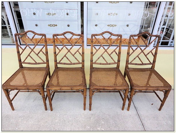 Vintage Faux Bamboo Chippendale Chairs