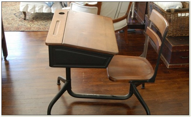 Vintage School Desk With Attached Chair