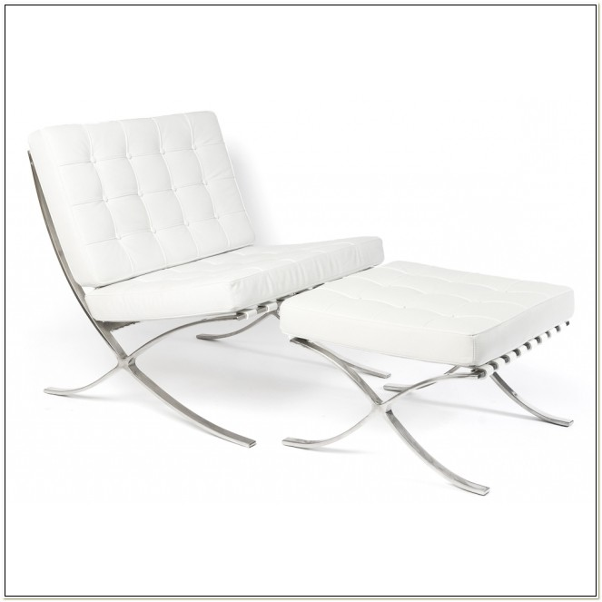White Barcelona Chair Reproduction