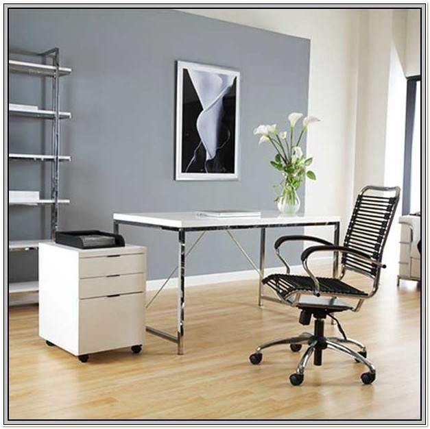 White Flat Bungee Office Chair With Arms