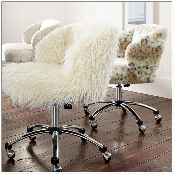 White Fluffy Desk Chair