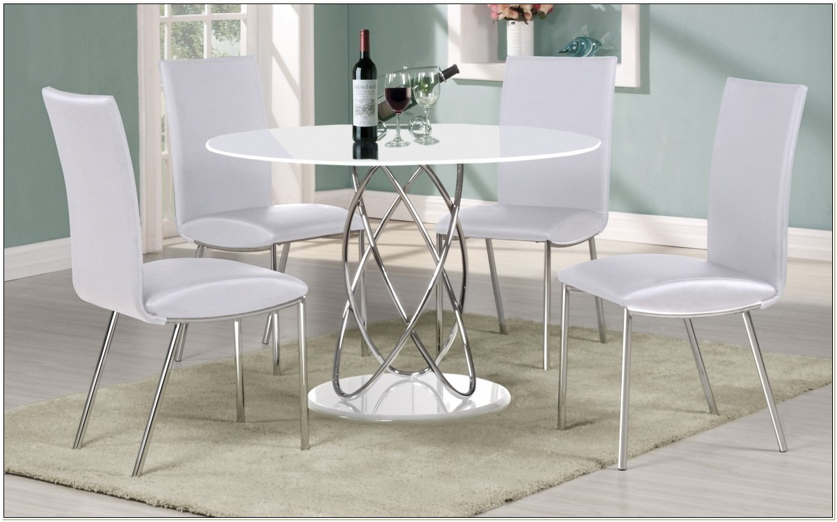 White Gloss Round Kitchen Table And Chairs