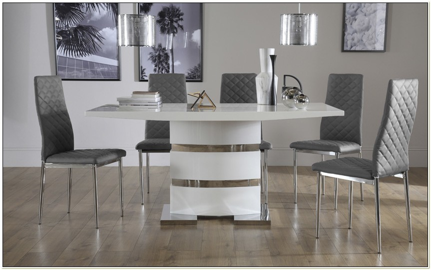 White High Gloss Kitchen Table And Chairs