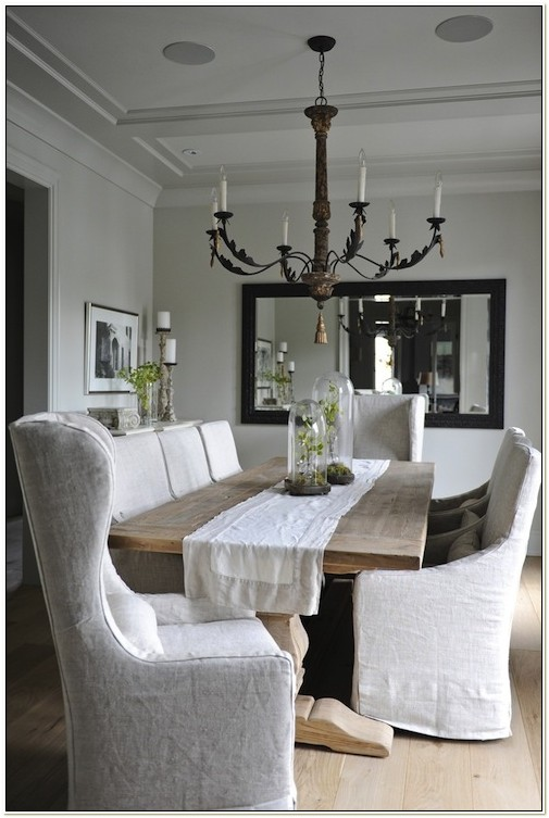 White Linen Dining Chair Slipcovers