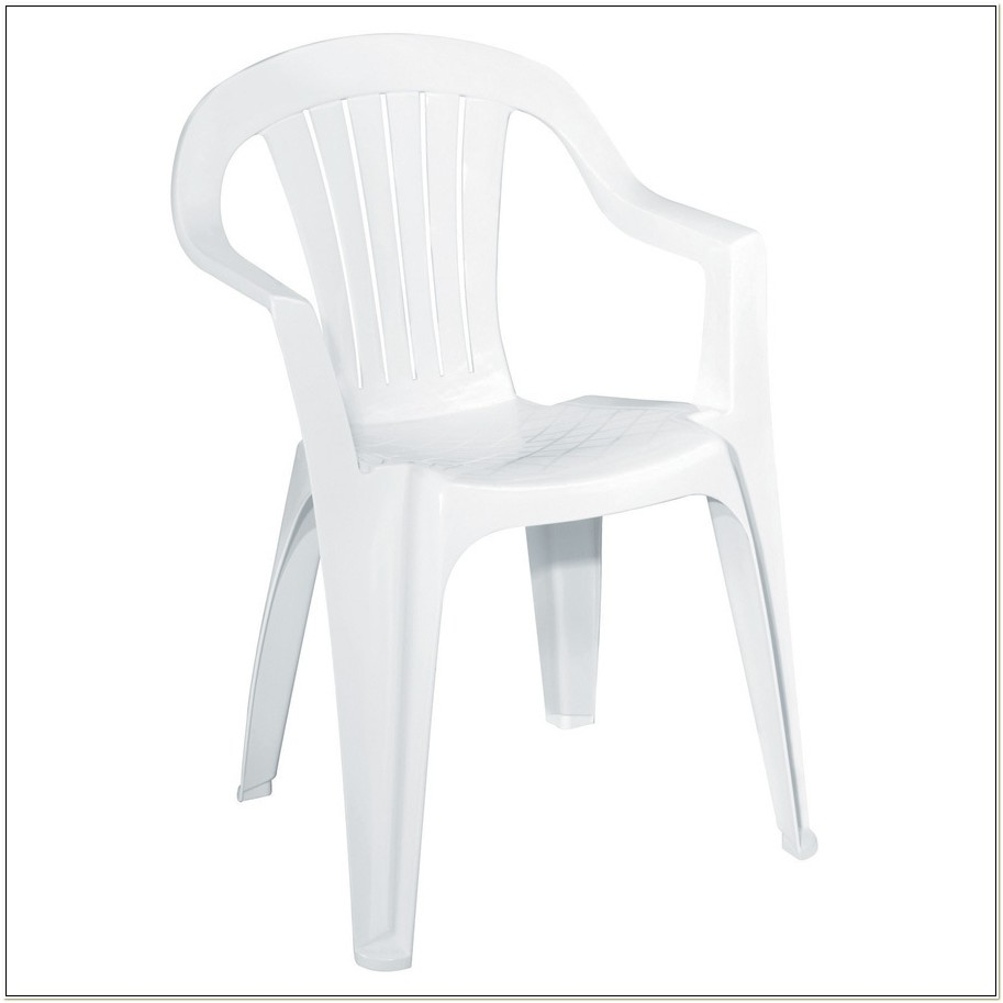 White Resin Outdoor Stacking Chairs