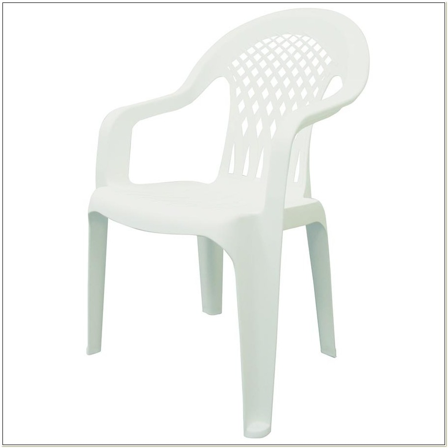 White Resin Stackable Lawn Chair