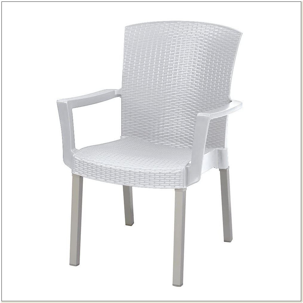 White Resin Wicker Stackable Chairs