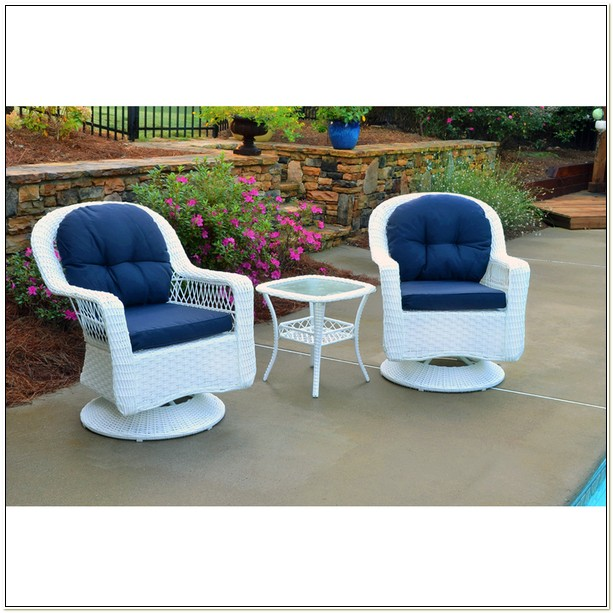 White Resin Wicker Swivel Chair