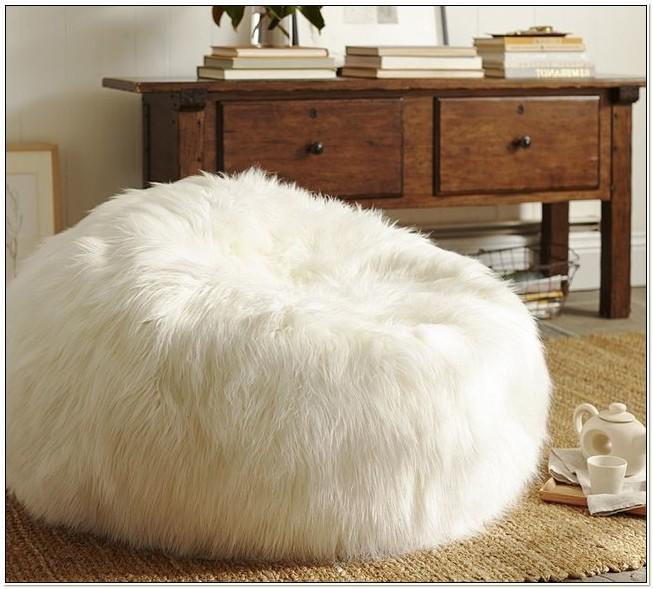 White Shaggy Bean Bag Chair